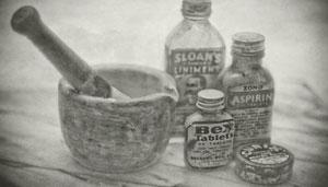 Abbildung alter Apotheker Werkzeuge